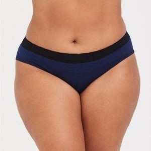 Torrid Black Blue Striped Seamless Hipster Panty 1
